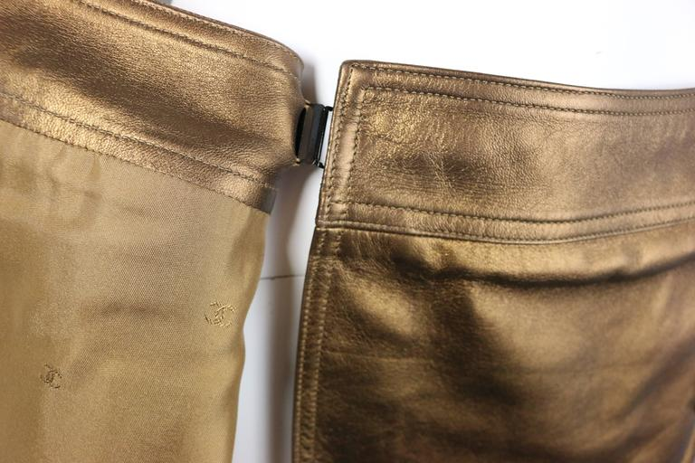 Women's Chanel Bronze Metallic Lambskin Leather Wrap Skirt  For Sale