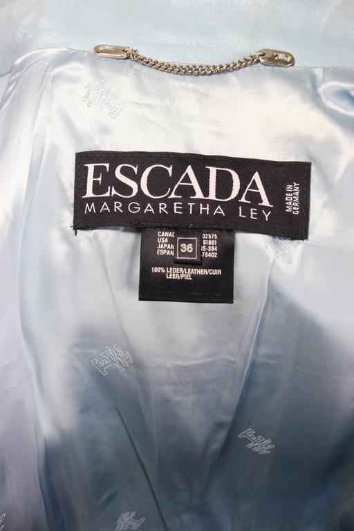 Escada Blue Leather Belted  Biker Jacket For Sale 1