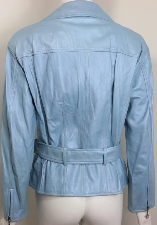 Escada Blue Leather Belted  Biker Jacket In Excellent Condition For Sale In Sheung Wan, HK