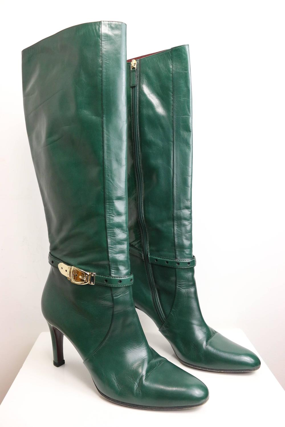 Gucci Green Leather Boots For Sale At 1stdibs