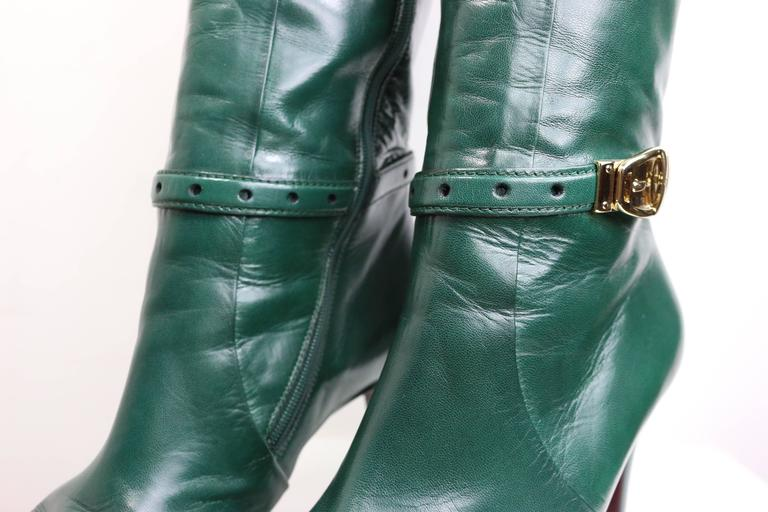 Gucci Green Leather Boots  4