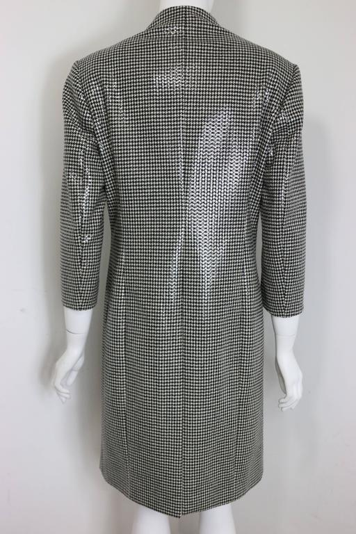 - Anteprima black and white houndstooth wool long coat with transparent sequin on top. It makes the coat look shinny. 