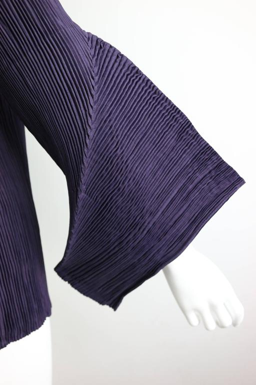 Issey Miyake Purple Pleated with 3D sleeves Top  In New Condition For Sale In Sheung Wan, HK