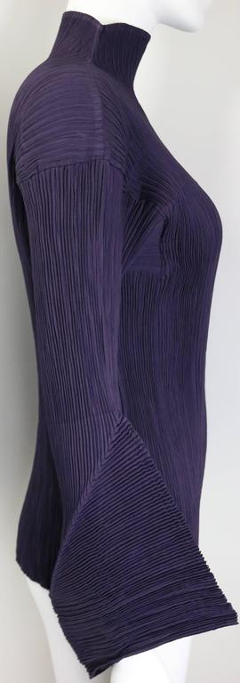 Black Issey Miyake Purple Pleated with 3D sleeves Top  For Sale