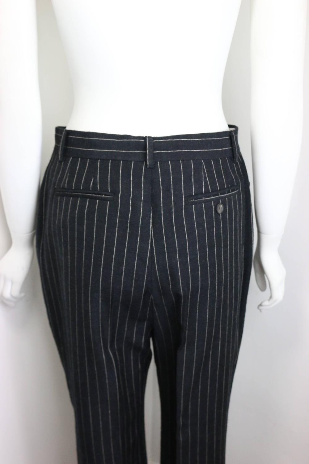 Gucci By Tom Ford Black And White Pinstripe Wool Double