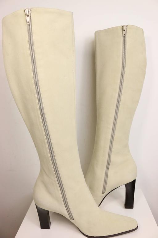 Celine White Suede Long Boots In Excellent Condition For Sale In Sheung Wan, HK