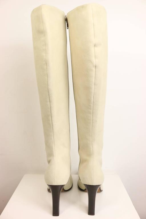 Women's Celine White Suede Long Boots For Sale