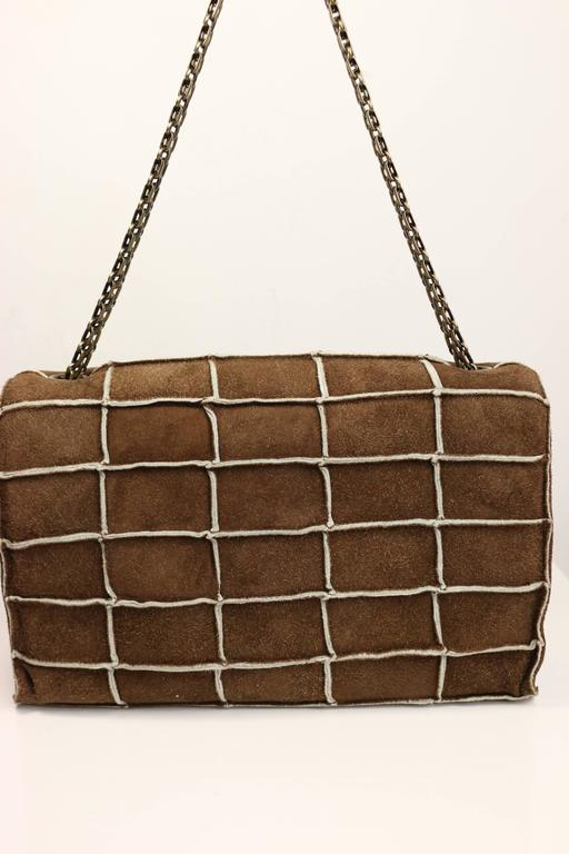 Chanel Brown Identification Suede Flap Bag 2