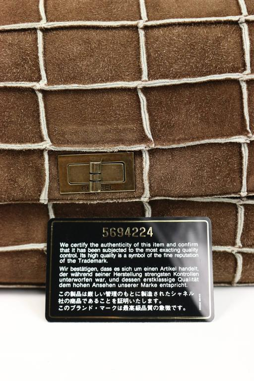 Chanel Brown Identification Suede Flap Bag 4