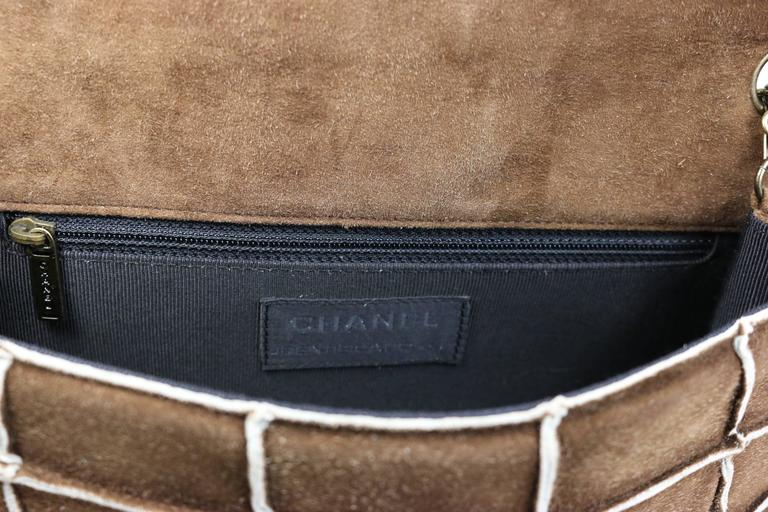 Chanel Brown Identification Suede Flap Bag 3