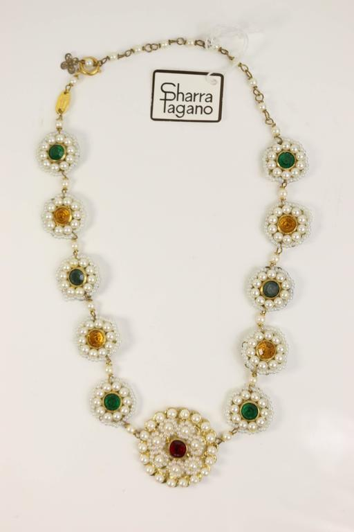 Sharra Pagano Pearl Beaded Gold Toned with Colours Rhinestones Necklace  3