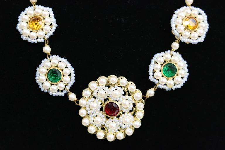 Sharra Pagano Pearl Beaded Gold Toned with Colours Rhinestones Necklace  2