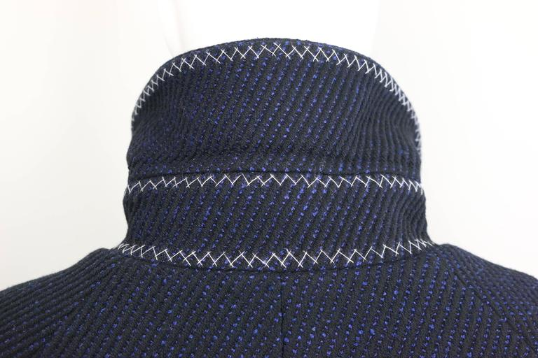 Chanel Black and Blue Tweed Wool Coat  For Sale 1
