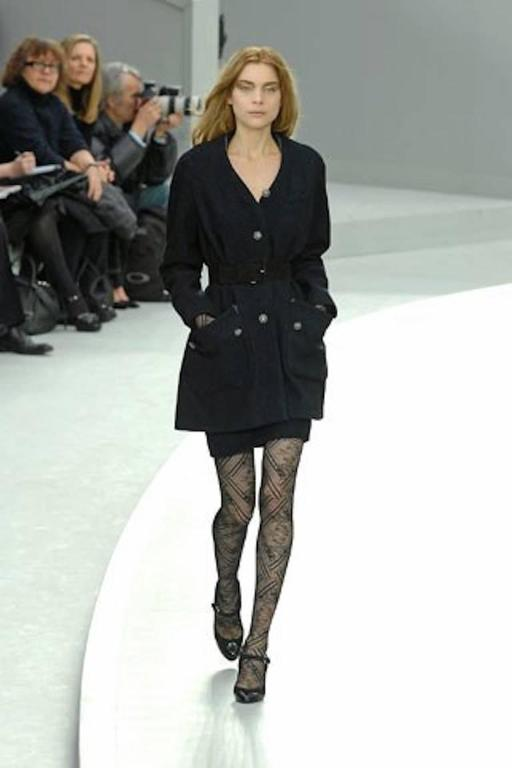 Chanel Black and Blue Tweed Wool Coat  For Sale 3