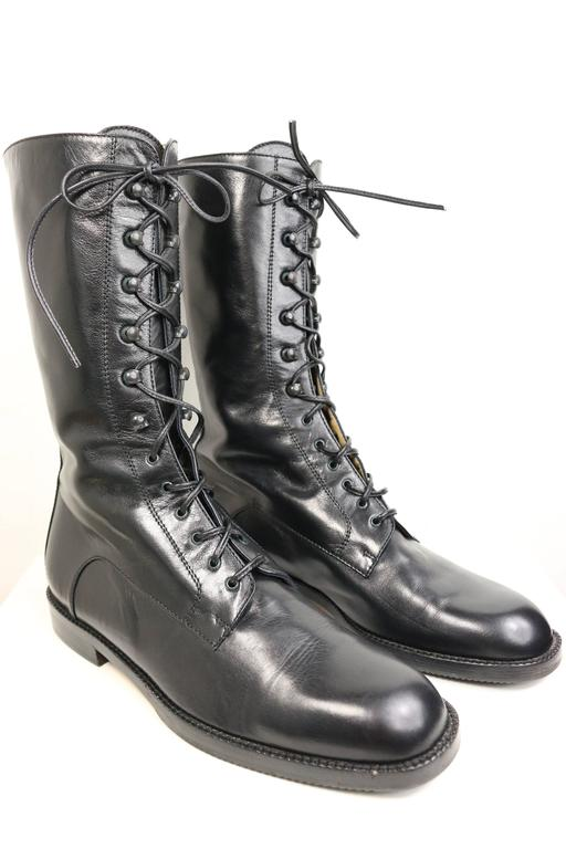 Vintage 90s Black Leather Military Style Army Combat Lace Up Ankle Worker Boots  2