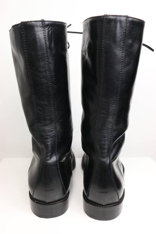 Vintage 90s Black Leather Military Style Army Combat Lace Up Ankle Worker Boots  3