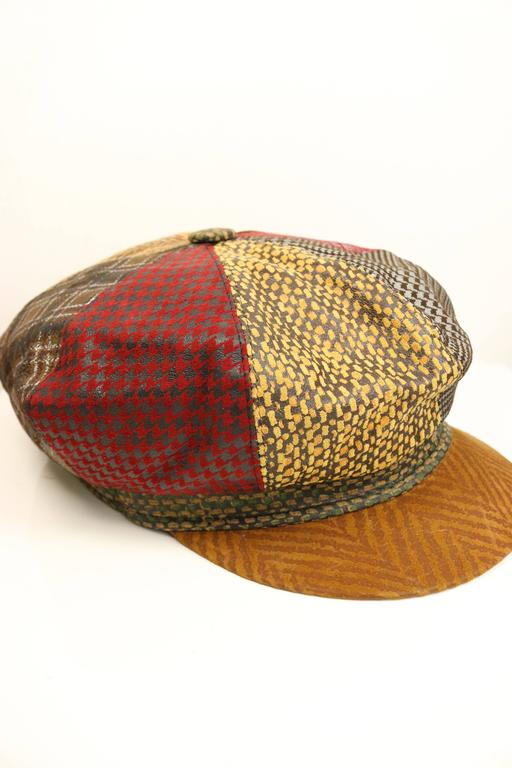 Roberto Cavalli Leather Multi Patterns Patchwork Newsboy Cap  4