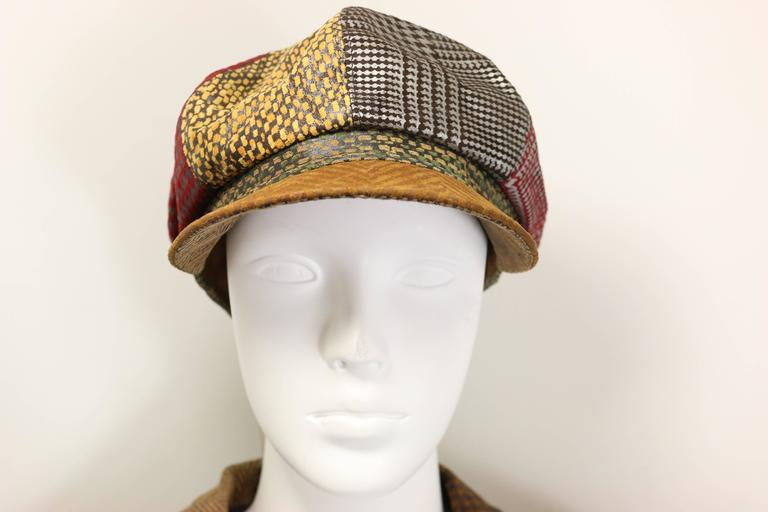 Roberto Cavalli Leather Multi Patterns Patchwork Newsboy Cap  3