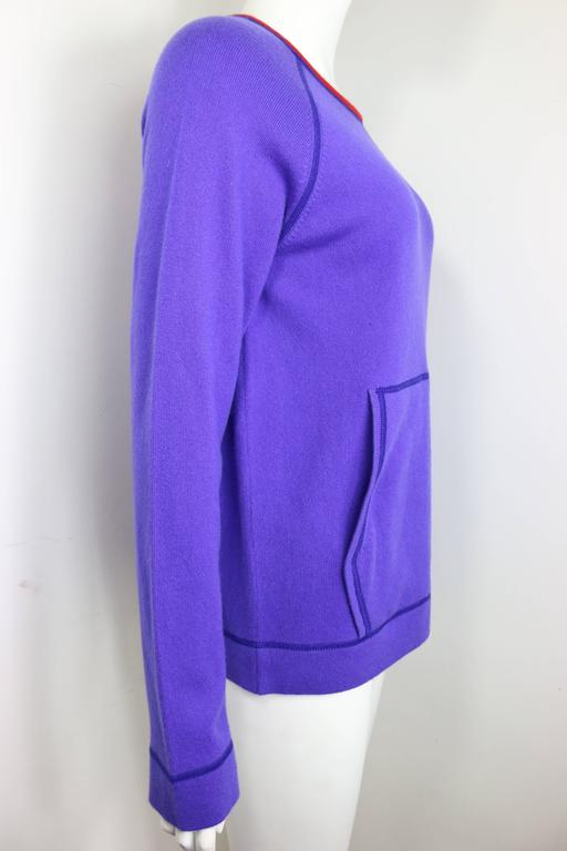 Chanel Purple with Red Trim Collar Pullover Cashmere Sweater  In Excellent Condition For Sale In Sheung Wan, HK