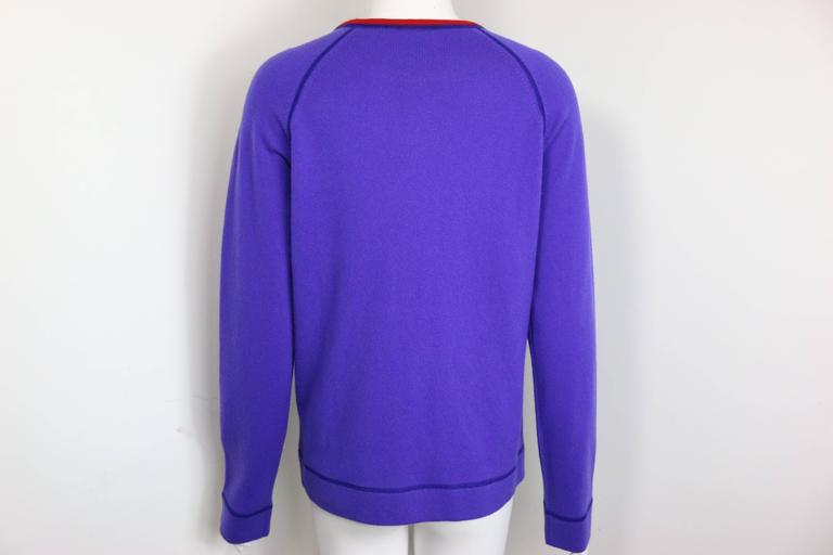 - Chanel purple with red trim collar pullover cashmere sweater from 2008 pre-collection. 