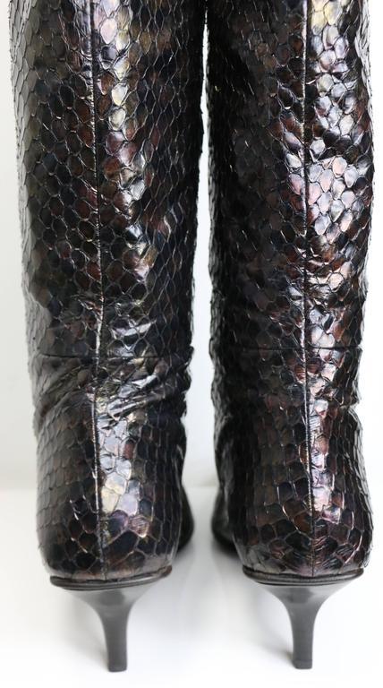 Black Vintage Gucci by Tom Ford Multi Coloured Python Snakeskin Slip On Long Boots  For Sale