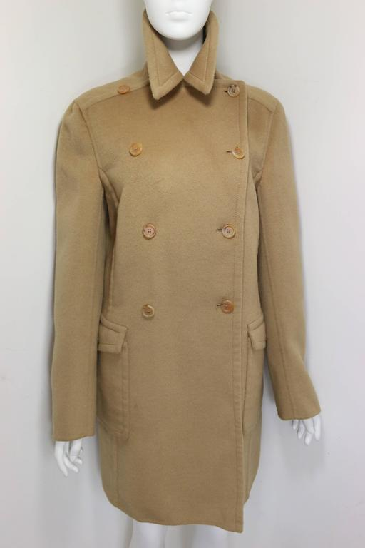 Brown 90s Prada Camel Wool Angora Goat Hair Double Breasted Coat  For Sale