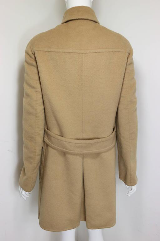 - Vintage Prada camel wool double breasted coat from fall 1996 collection.