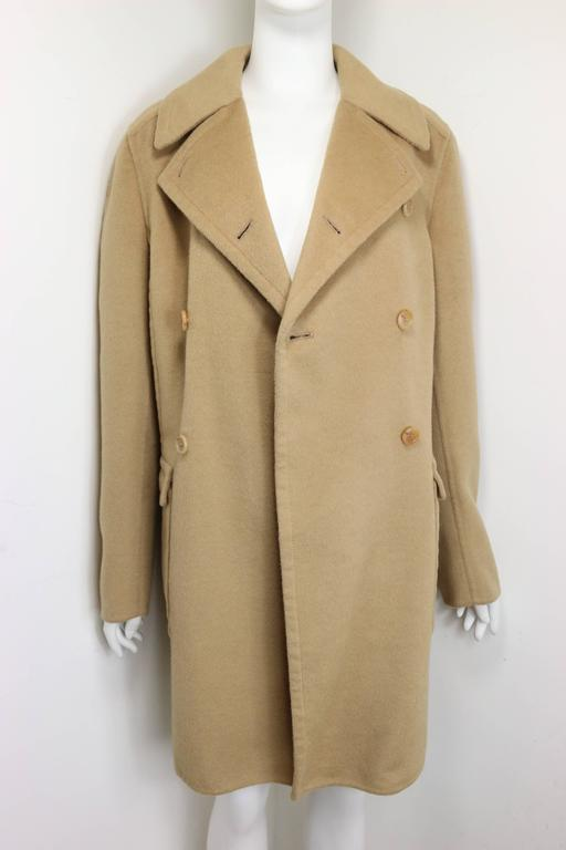 Men's 90s Prada Camel Wool Angora Goat Hair Double Breasted Coat  For Sale