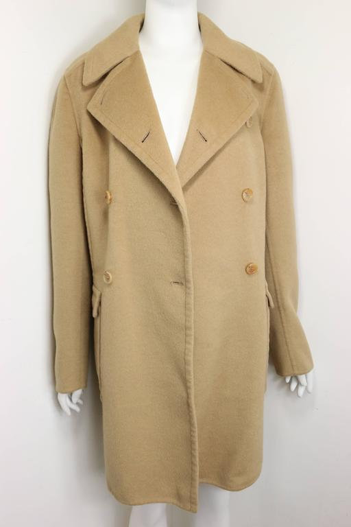 90s Prada Camel Wool Angora Goat Hair Double Breasted Coat  For Sale 1