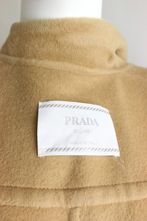 90s Prada Camel Wool Angora Goat Hair Double Breasted Coat  For Sale 3