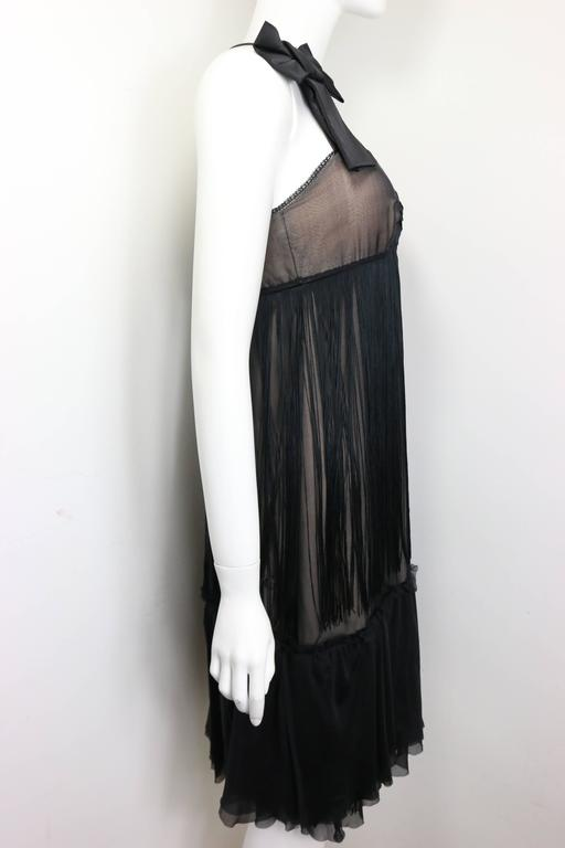 D&G by Dolce & Gabbana Black Sheer Silk Cocktail Dress  In Excellent Condition For Sale In Sheung Wan, HK