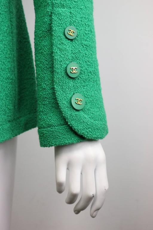 Chanel Green Boucle Wool Collarless Double Breasted Jacket  3