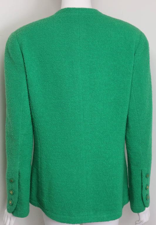 Chanel Green Boucle Wool Collarless Double Breasted Jacket  2