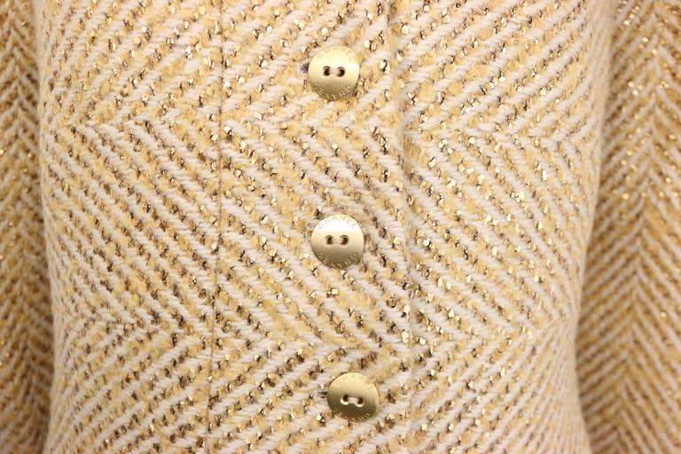 Brown Chanel Gold Toned Metallic Glitter Wool Tweed Jacket For Sale