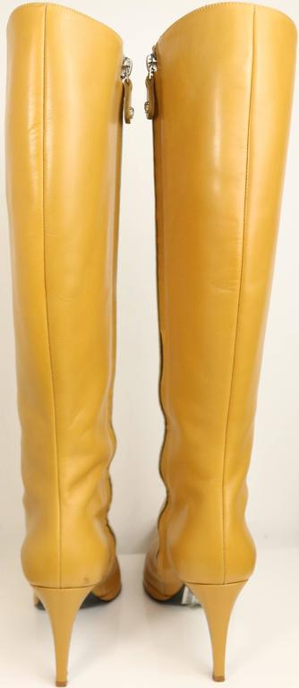 Gianni Versace Camel Leather Long Boots  3