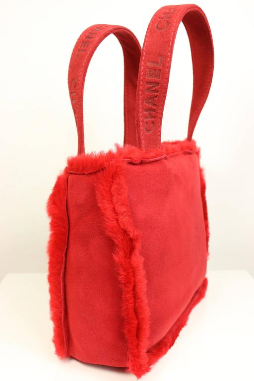Chanel Red Suede with Feather Trim Handbag 2