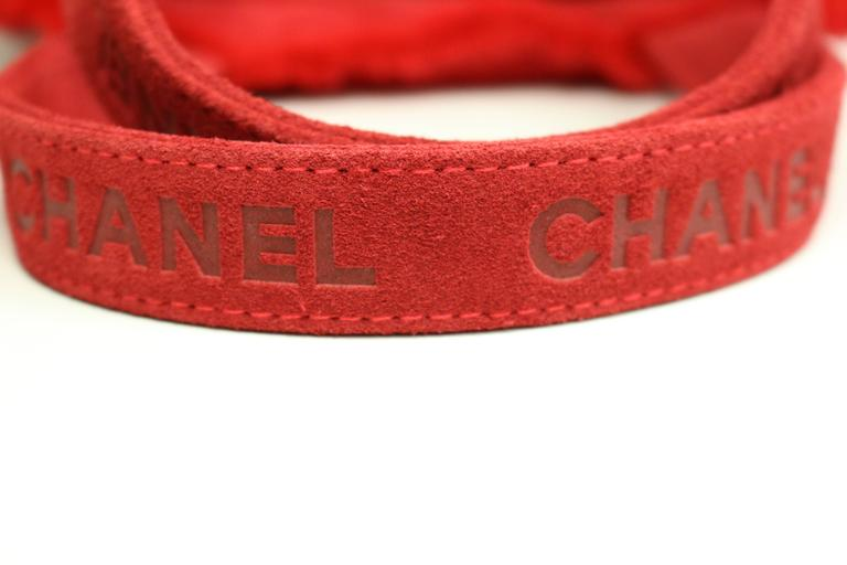 Chanel Red Suede with Feather Trim Handbag 3