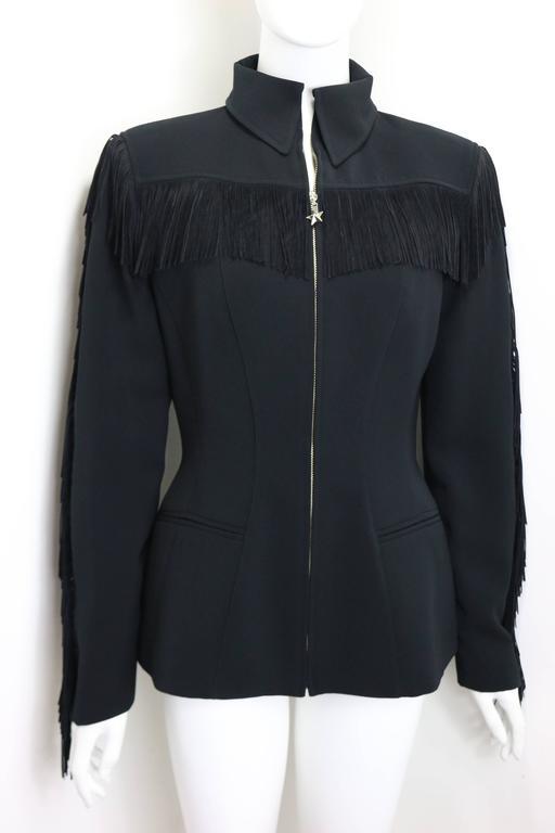 Women's Thierry Mugler Black Structured Shoulder Fringe Jacket  For Sale