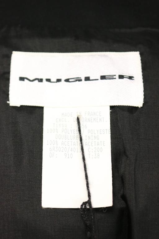 Thierry Mugler Black Structured Shoulder Fringe Jacket  For Sale 2