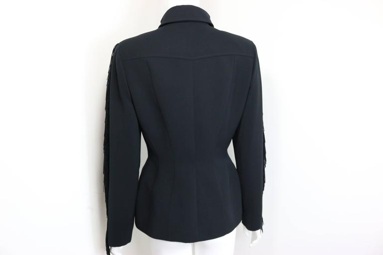 Thierry Mugler Black Structured Shoulder Fringe Jacket  In Excellent Condition For Sale In Sheung Wan, HK