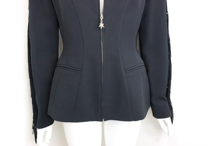 Thierry Mugler Black Structured Shoulder Fringe Jacket  For Sale 1
