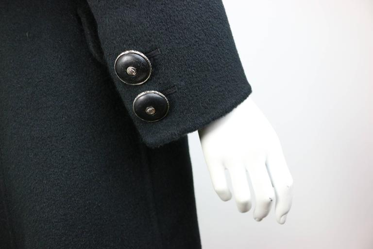 90s Gianni Versace Couture Black Wool Long Coat In Excellent Condition For Sale In Sheung Wan, HK