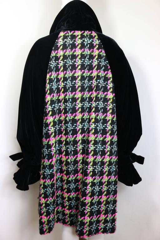 Christian Lacroix Black Velvet Colours Houndstooth Tweed Oversized Long Coat In Excellent Condition For Sale In Sheung Wan, HK