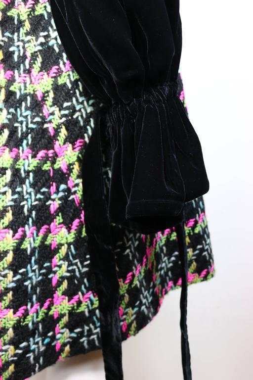Christian Lacroix Black Velvet Colours Houndstooth Tweed Oversized Long Coat For Sale 2