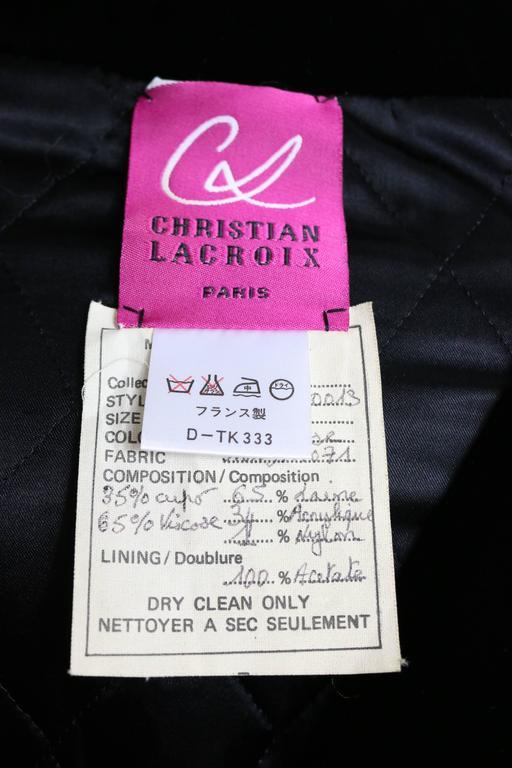Christian Lacroix Black Velvet Colours Houndstooth Tweed Oversized Long Coat For Sale 3