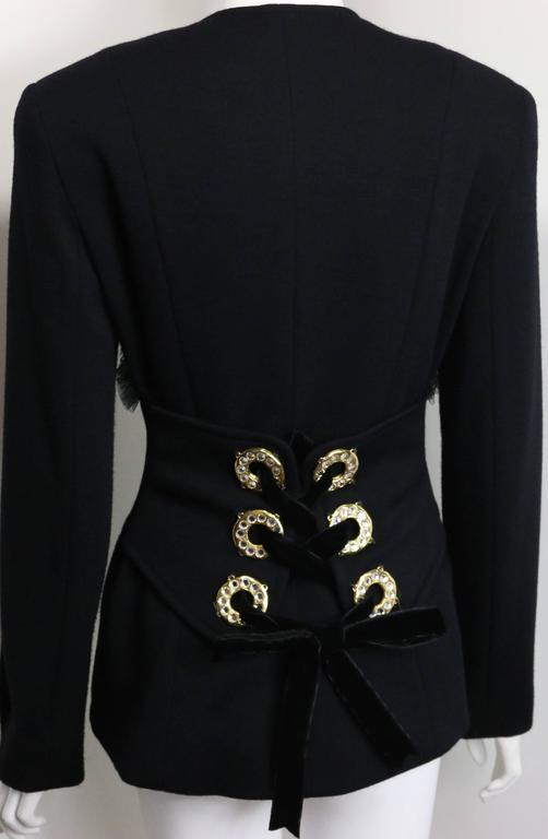 - Vintage 90s Gemma Kahng black wool shawl jacket. 