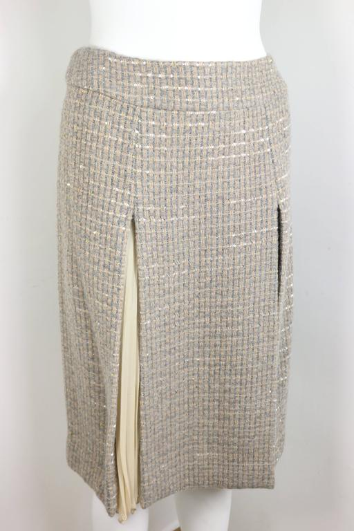Chanel Grey/Camel Tweed Coat/Skirt Ensemble with Gold and Silver Sequins  In Excellent Condition For Sale In Sheung Wan, HK