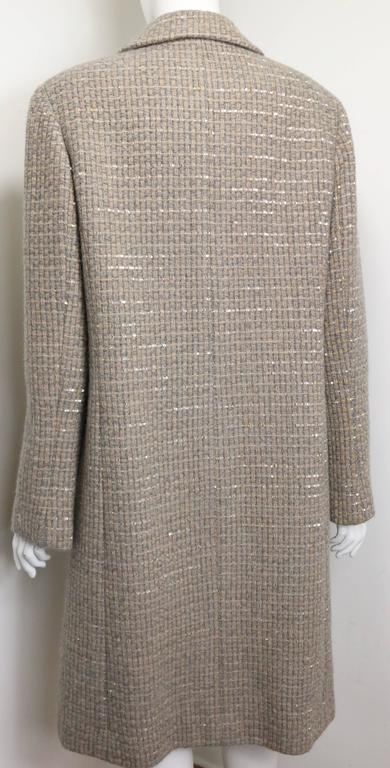 Gray Chanel Grey/Camel Tweed Coat/Skirt Ensemble with Gold and Silver Sequins  For Sale