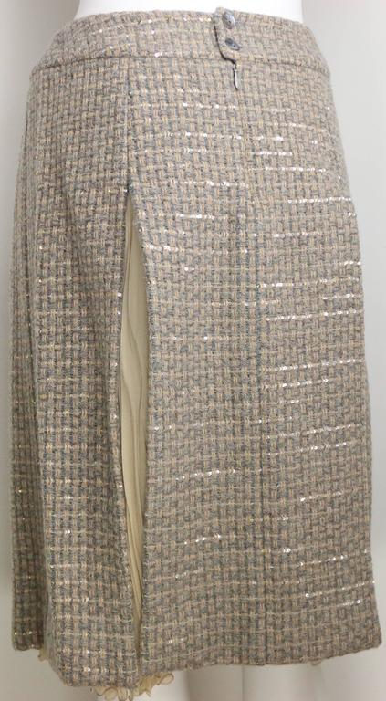 Chanel Grey/Camel Tweed Coat/Skirt Ensemble with Gold and Silver Sequins  For Sale 1