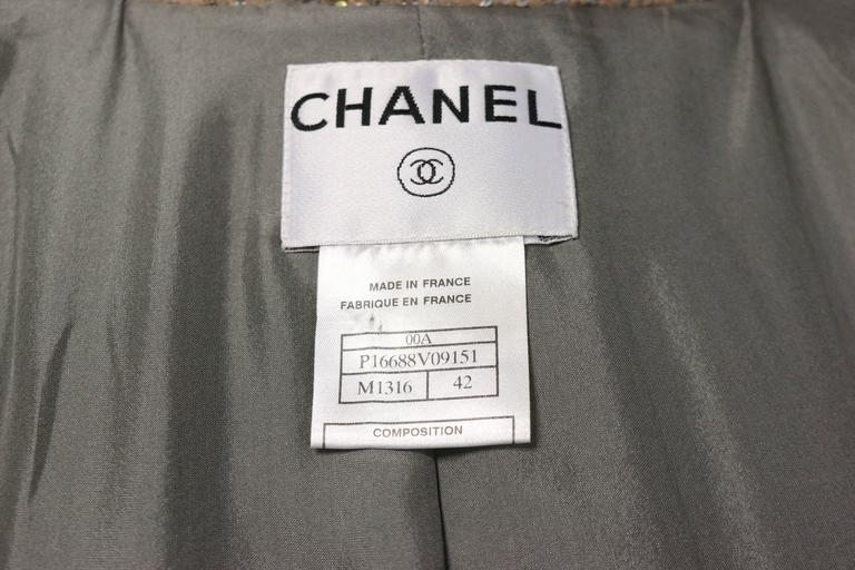 Chanel Grey/Camel Tweed Coat/Skirt Ensemble with Gold and Silver Sequins  For Sale 2